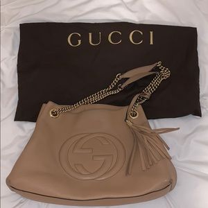 Gucci Shoulder Soho Women's Tan Leather Hobo Bag